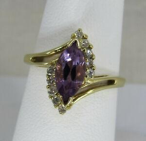14k Pure Gold Purple Amethyst & Diamond Cocktail sz 7 Ring 3.1g
