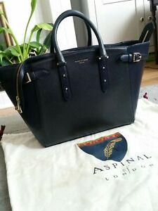 Aspinal of London Marylebone Tech Large Leather Tote Handbag Navy Blue