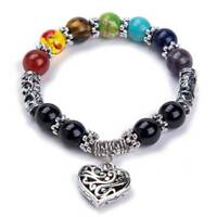 Natural Agate Stone 7 Chakra Healing Beaded Diffuser Bracelet With Heart Pendant