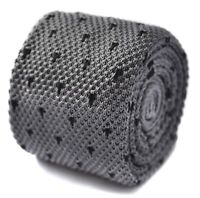 Frederick Thomas knitted grey tie with black spots