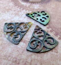 Pack of 2 Black Shell Carved Pendant Triangular Shell Pendant