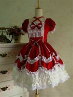 Lolita Gothic Maid Wear Girl Red Dress Outfits Cosplay Costume Halloween