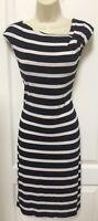 Calvin Klein 6 Woman's Black White Striped Sleeveless Casual Career Sheath Dress