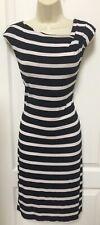 Calvin Klein Size 6 Black White Striped Sleeveless Casual Career Dress