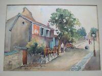 Tableau Montmartre Paris René de Olinda aquarelle années 1940 - 1950 Lapin Agile