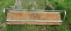 Vintage Wood Chrome Wall Coat Rack Shelf Mid Century Modern Railroad Industrial