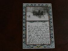 ORIGINAL ART NOUVEAU POSTCARD - HORSES & SLEIGH IN PANEL, CIRCA 1901.