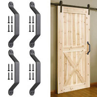 "4pc 9"" Barn Handle Cast Iron Pull Gate Shed Cabinet Matte Black for Sliding Door"