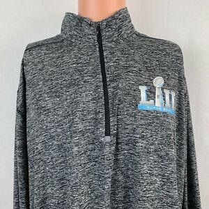 New Nike NFL Super Bowl LII Pullover Dri Fit Sweatshirt Quarter Zip Grey 2XL