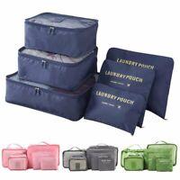 6Pcs Travel Luggage Organizer Bag Clothes Underwear Socks Packing Cube Storage