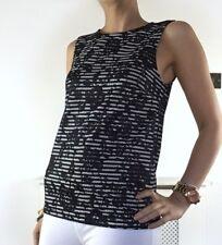 Almacén de Encaje Floral Rayas Blusa Prenda para el torso Negro Blanco 6 Reino Unido XS Sin Mangas