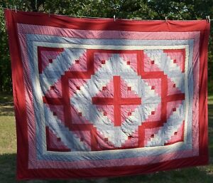 "Homemade machine stitched patchwork   Quilt 75x98"" Reds, cream ,blues"