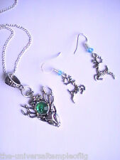 Stag Deer Reindeer pagan spirit animal christmas necklace earring jewelry green