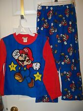 Super Mario Fleece Flame Resistant 2 Piece Pajama PJ Set Boys Size 8 NEW #66