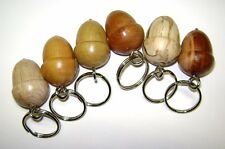 6 wooden acorn keyrings in beautiful different woods made in Mid Wales UK
