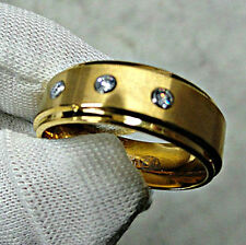 Gold Plated TUNGSTEN Men's RING with Round CZ, sizes 10, 11, 12, 13 - NEW in Box