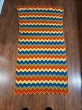 Vintage Crochet Knit Chevron Zig Zag Rainbowish Afghan Boho Hippie 70's Blanket