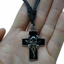 Skull Cross Silver Tone Pendant Chain Necklace Choker Charm Mens Ladies Boy Girl