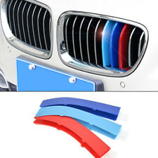 3PCS Kidney Grille Cover Decal Stripe Clip For BMW 3 Series 2013-2018 M Color