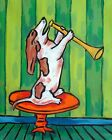 Basset hound playing a horn music  picture  DOG ART NOTE CARDS