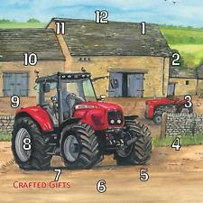 "Massey Ferguson tractor Sue Podbery Handmade Wall Clock 19.6cm 8"" / 28.5cm 11"""
