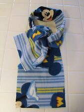 """New Mickey Mouse Blue Multi Color Stripes Scarf Fleece Fabric 60"""" Long 9"""" Wide"""
