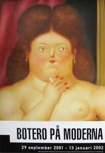 FERNANDO BOTERO Woman Smoking 39.25 x 27.5 Poster 2001 Contemporary Brown, Red