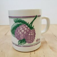Vintage Knotts Berry Farm Boysenberry Coffee Mug Tea Cup White Purple Green