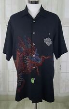 Harley Davidson Tori Richard Black Shirt Embroidered Dragon 100% Silk  Sz M EUC