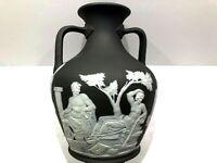 C.1867 ~ Wedgwood Rare Solid Charcoal Black Jasperware Portland Vase Rope Handle