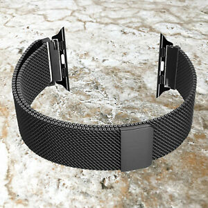 Black Color Adjustable Milanese Band for Apple 38 40 42mm 44mm Watch All Series