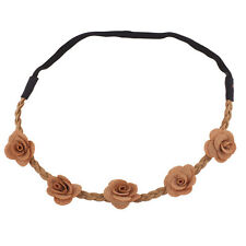 Lux Accessories Tan Rose Fabric Woven Floral Flower Stretch Headband Head Band