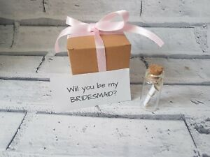 will you be my bridesmaid - message in a bottle, wedding planning, gift box