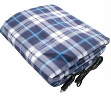 NEW LARGE 12V HEATED CAR VAN TRAVEL ELECTRIC BLANKET WARM FLEECE CUDDLE RUG