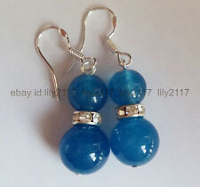 Fashion natural  8mm &12mm Apatite Beads Silver Dangle Earrings