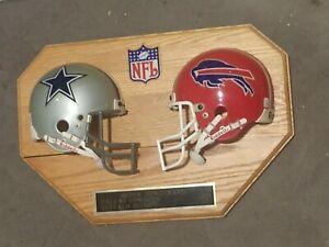 VTG Dallas Cowboys Buffalo Bills Super Bowl XXVII Mini Helmet Wood Plaque