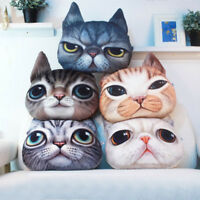 3D Soft Plush Funny Cat Dog Face Fleece Throw Pillow Case Cushion Cover Decor US