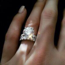 Certified 5.15 Ct Round Cut Diamond Engagement Wedding Ring Set 14K White Gold