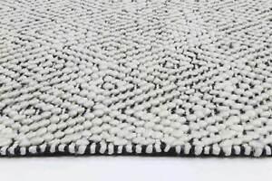 Amble Diamonds Tribal Ivory Grey Hand Woven Floor Rug - 4 Sizes **FREE DELIVERY*