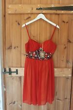 Designer Love Label Ladies Chiffon Hand Embroidered Evening Summer Dress Size 10