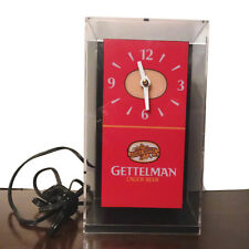 Rare Gettelman Lager Beer Lighted Cube Clock Miller Brewing Company