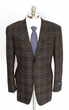 Mens STEFANO RICCI Italy Brown Plaid 100% Cashmere Coat Jacket 52 42 R NWT