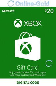 XBOX Live Card 20 USD Gift Code - Microsoft Xbox One Xbox 360 Key - US