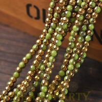 200pcs 4mm Round Glass Loose Spacer Beads Porcelain Olive Green Half Gold