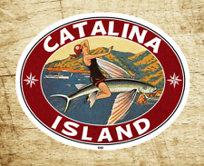 "Catalina Island California Decal Sticker 3.5"" X 2.75"" Vintage Style Flying Fish"
