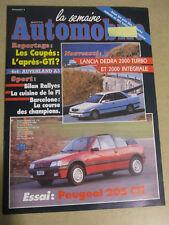 LA SEMAINE AUTOMOBILE: n°218: 15/12/1990: PEUGEOT 205 CTI - LANCIA DEDRA 2000 TU