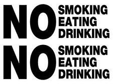 2x NO Smoking Eating Drinking Taxi car van bumper, windows,  vinyl decal sticker