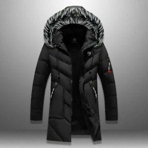 Winter Parka Men Solid Jacket Thick Warm Coat Long Hooded Jacket Fur Collar Coat