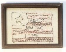 """Americana Primitive Vintage Handstitched Picture Sampler Flag 8""""x6"""""""