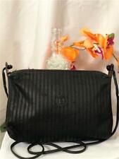 FENDI Vintage Pequin Black Stripe Coated Canvas/ Leather Crossbody Shoulder Bag